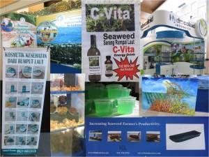 Massor med utställare och produkter med alger.