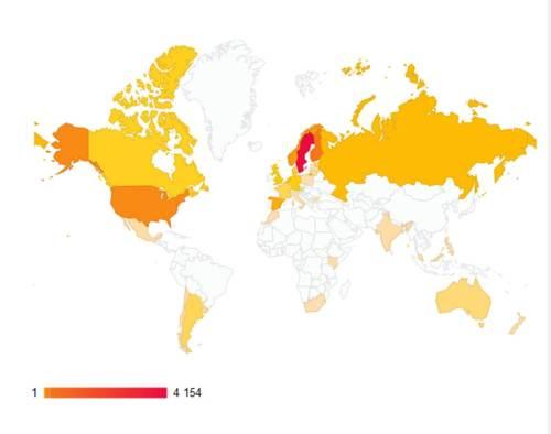 Dessa länder har besökt Tångbloggen fram till idag (2013-04-02)