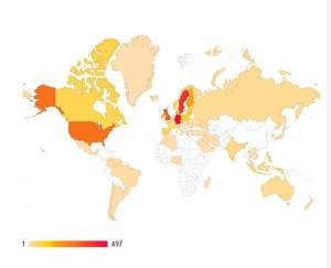 Map of visitors to the BalticSeaWeed blog during 2013