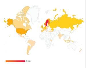 Karta över besökande länder under 2013