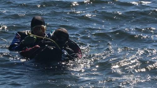 Dykande reporter Lena Näslund upplever våren i havet utanför Släggö.  Foto: Benny Eriksson